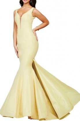 32515 YELLOW MERMAID TAFFETA GOWN Prom Dress