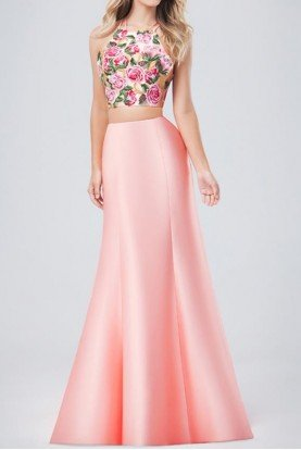 3223RW Cascading Two Piece Floral Prom Dress