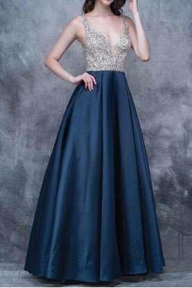 Upscale Crystal Beaded Navy Blue Ball Gown