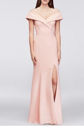 Off Shoulder Crepe Sheath Gown Blush Dress