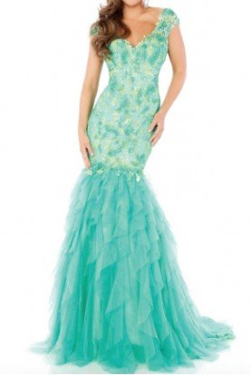 Lace Beaded Mint Green Mermaid Dress Gown Prom