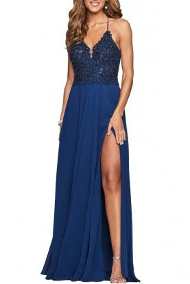 Faviana Blue Graceful Chiffon Lace Corset Gown Prom Dress