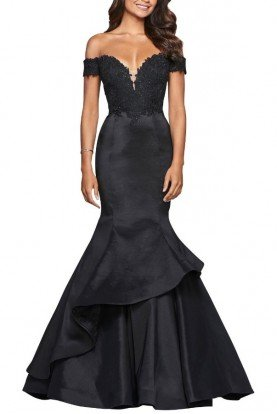 Black Glossy Off-Shoulder Mermaid Lace Gown
