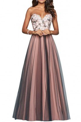 Faviana Sylvan Floral Tulle Gown Dusty Pink Prom Dress