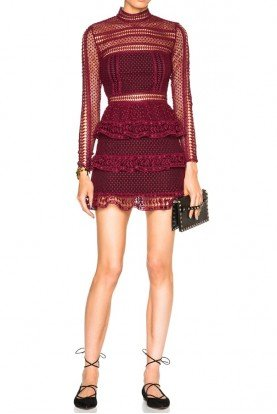 High Neck Paneled Dress in Dark Maroon Burgundy