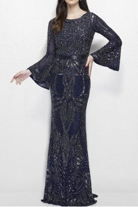 Primavera Couture 1964 Open Back Bell Sleeve Gown in Midnight Navy