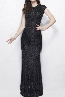 Primavera 1973 Black evening Gown with Fringe Prom