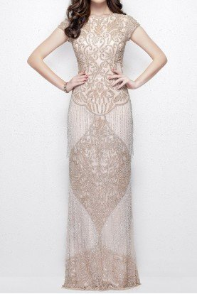 1973 Blush Silver Cap Sleeve Gown with Fringe Prom