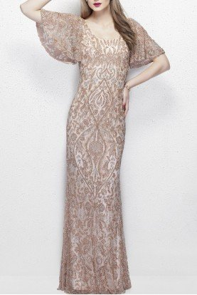 Primavera Silver Blush 1991 Short Sleeve Beaded Gown Prom