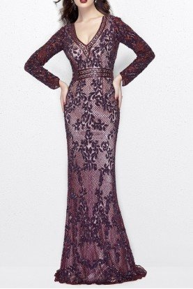 Primavera 1990 Elegant Long Sleeve Beaded Evening Ball Gown