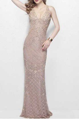 3029 Nude V Neck Beaded Dress with Open Back Prom