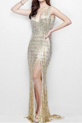 Primavera Couture 3031 Glamorous Beaded Fringe Gown in Nude Gold