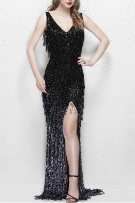 3031 Glamorous Beaded Fringe Gown in Black Prom