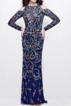 Primavera Couture 3044 Long Sleeve Cold Shoulder Beaded Blue Gown