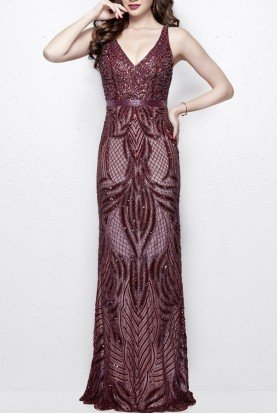 3061 Sultry Sequin Beaded Evening Gown Eggplant