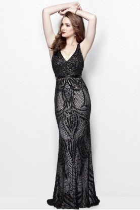 3061 Sequin Embroidered Midnight Evening Gown