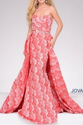 45934 Strapless Rose Print Floral Prom Dress