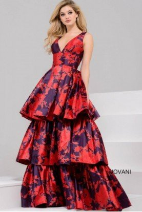 45167 Tiered Prom 2018 Dress Print Gown