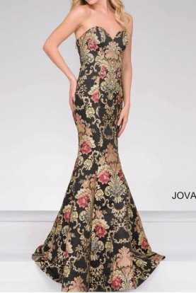 48395 Strapless Jacquard Prom Dress Evening Gown