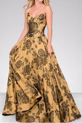Gold Print A Line Prom Ballgown 47983 Dress