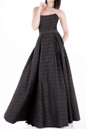 Black A-Line Long Strapless Formal Dress MCE21619