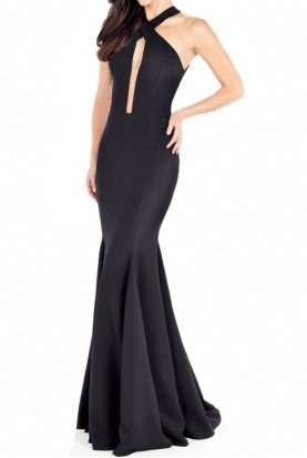 Elegant Black Open Back Evening Gown MCE21612
