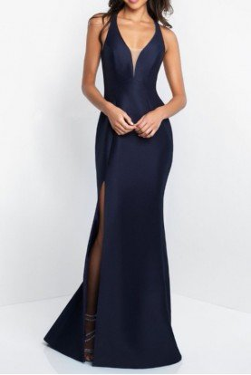 Mikado Fitted Gown Navy Blue Prom Dress Open Back
