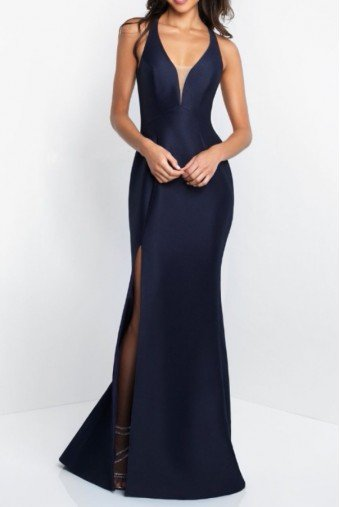 Blush Prom Mikado Fitted Gown Navy Blue Prom Dress Open Back