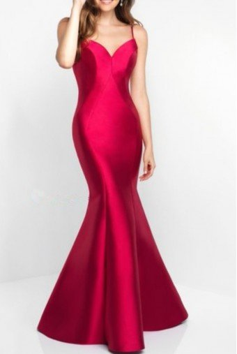 Blush Prom Open Back Mikado Red Evening Gown Prom Dress C1050