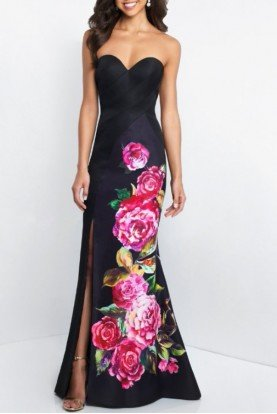 Sleeveless Black Floral Print Gown