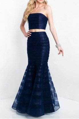 Two Piece Mermaid Gown Navy Blue Dress 11507