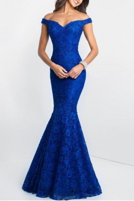 Off-Shoulder Mermaid Gown  In Blue