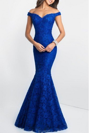 Blush Prom Off-Shoulder Mermaid Gown  In Royal Blue - 425