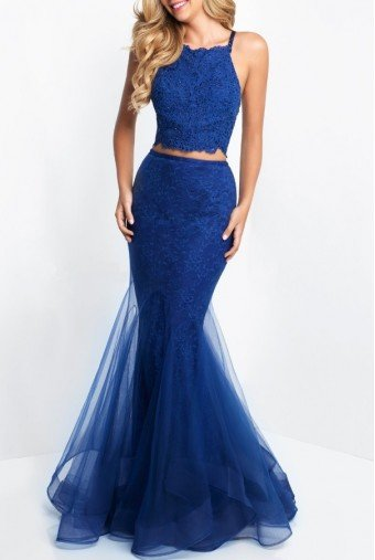 Blush Prom Blue Lace Mermaid Two Piece Gown Prom Dress