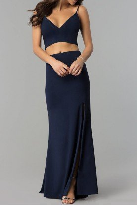 Jump Navy Blue Two Piece Long Prom Dress with Side Slit