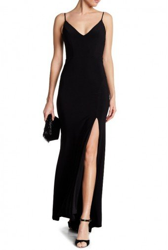 Jump V-Neck Black Evening Gown with Slit Prom Dress