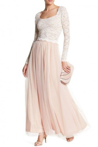Jump Sequin Lace Two Piece  Dress in Blush and White