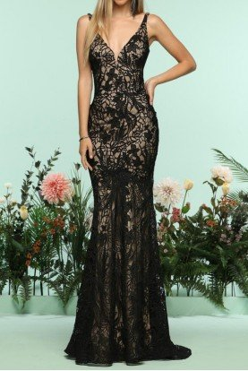 Black Lace Open Back Trumpet Gown Prom Dress 31142