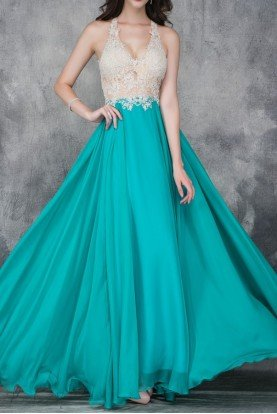 A Line Applique Teal Chiffon Ball Gown 2129
