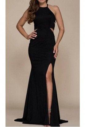 Black Cutout Jersey Evening Gown Prom Dress