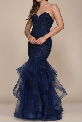 Navy Beaded Lace Long Strapless Mermaid Dress Gown