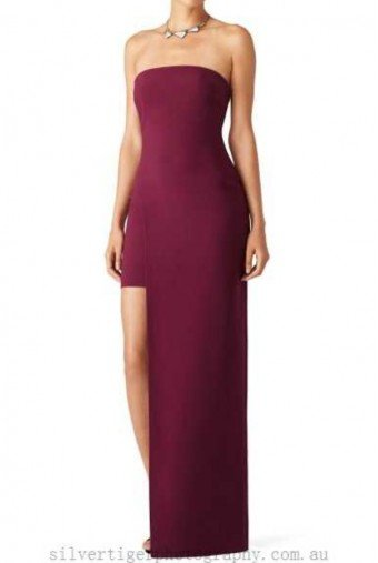 Likely Plum Demeyer Asymmetrical High low Gown