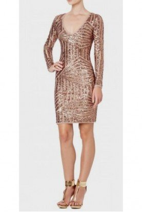 BCBG Long Sleeve Rose Gold Sequin Cocktail Party Dress