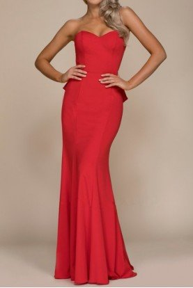 Red Strapless Mermaid Gown Open Back with Ruffles
