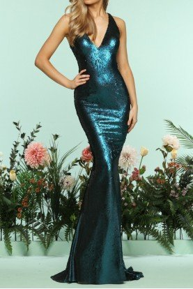 Teal Sequin Deep V Mermaid Gown Evening Dress