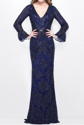 1724 Navy Blue Long Sleeve Beaded Gown Dress