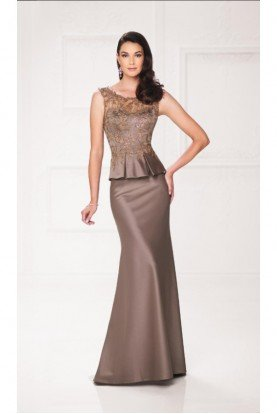MINK Gold Lace Peplum Gown Beaded Trumpet 117916