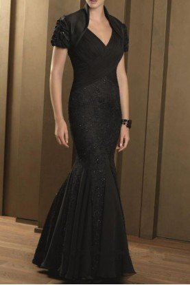 Black Tie Mother of Bride Evening Gown Dress 70329