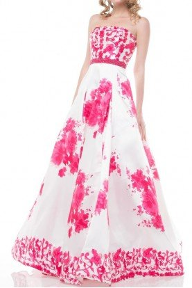 White Pink Fuchsia Ball Gown Prom Dress 1644