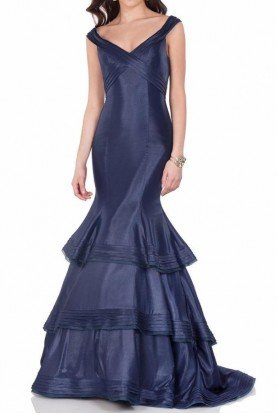 Terani Couture Navy Blue Mermaid Evening Gown Dress 1623E1655